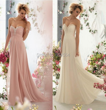 Chiffon Pink/Light Champagne Bridesmaid Dress