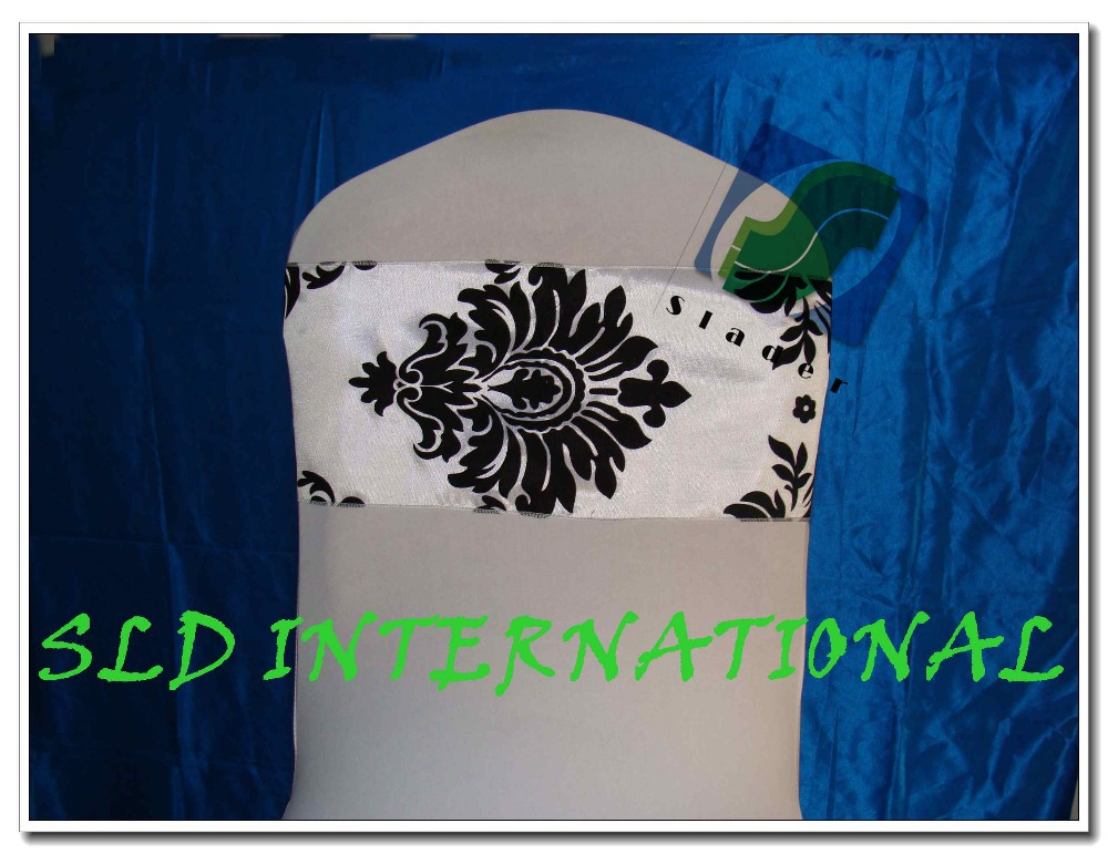100 WHITE BLACK Flocking Chair Sash for Wedding Damask Chair Cover Sashes Free Shipping