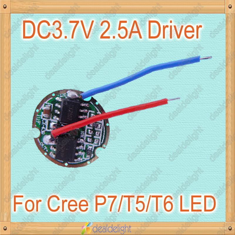 Freeshipping!5 Modes Dimmable DC3.7V Led Drivers for Cree XML-T5 T6 P7 High Power Led(China (Mainland))