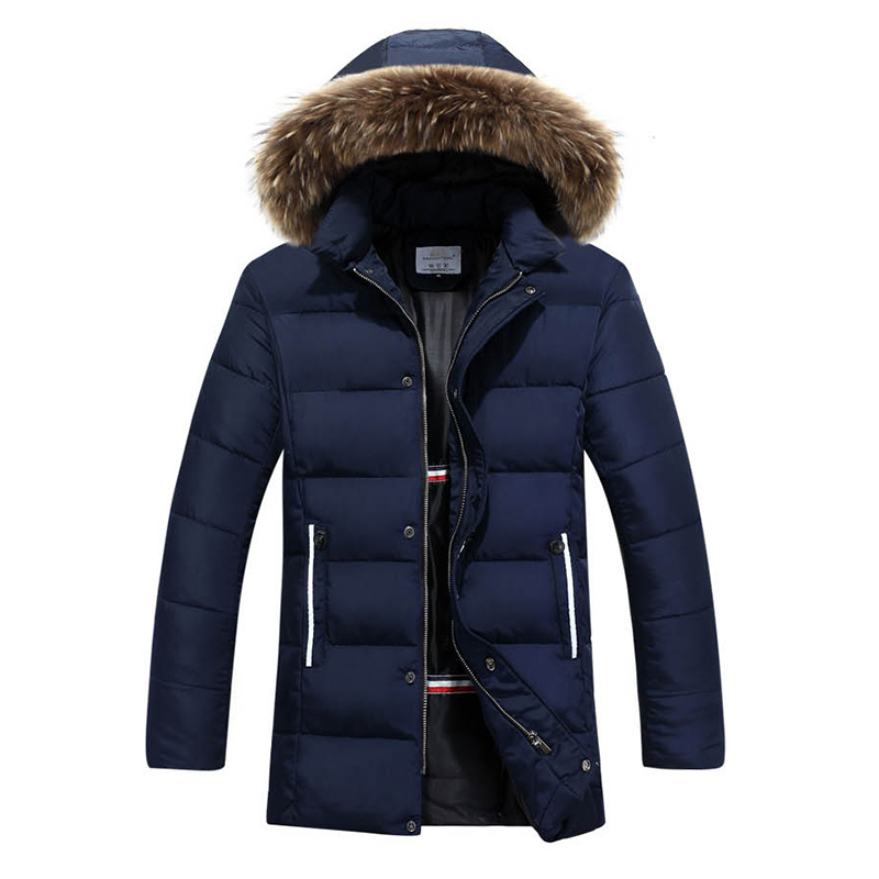 2016 Fashion Mens Winter Solid Parka Fur Hood Padded Jacket Men Warm Casual Jackets Jaqueta Masculina 13M0475