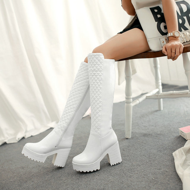 size 34-43 Women Boots Autumn Winter New Fashion Ladies Sexy Knee High Boots Zipper Long Boots Thick High Heels platform shoes