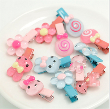 Kawaii Animal Rabbit Hairpin Candy Color Children Girls Surprise 6Pcs Hair Clips Headband Baby Barrette Resin Hairpins