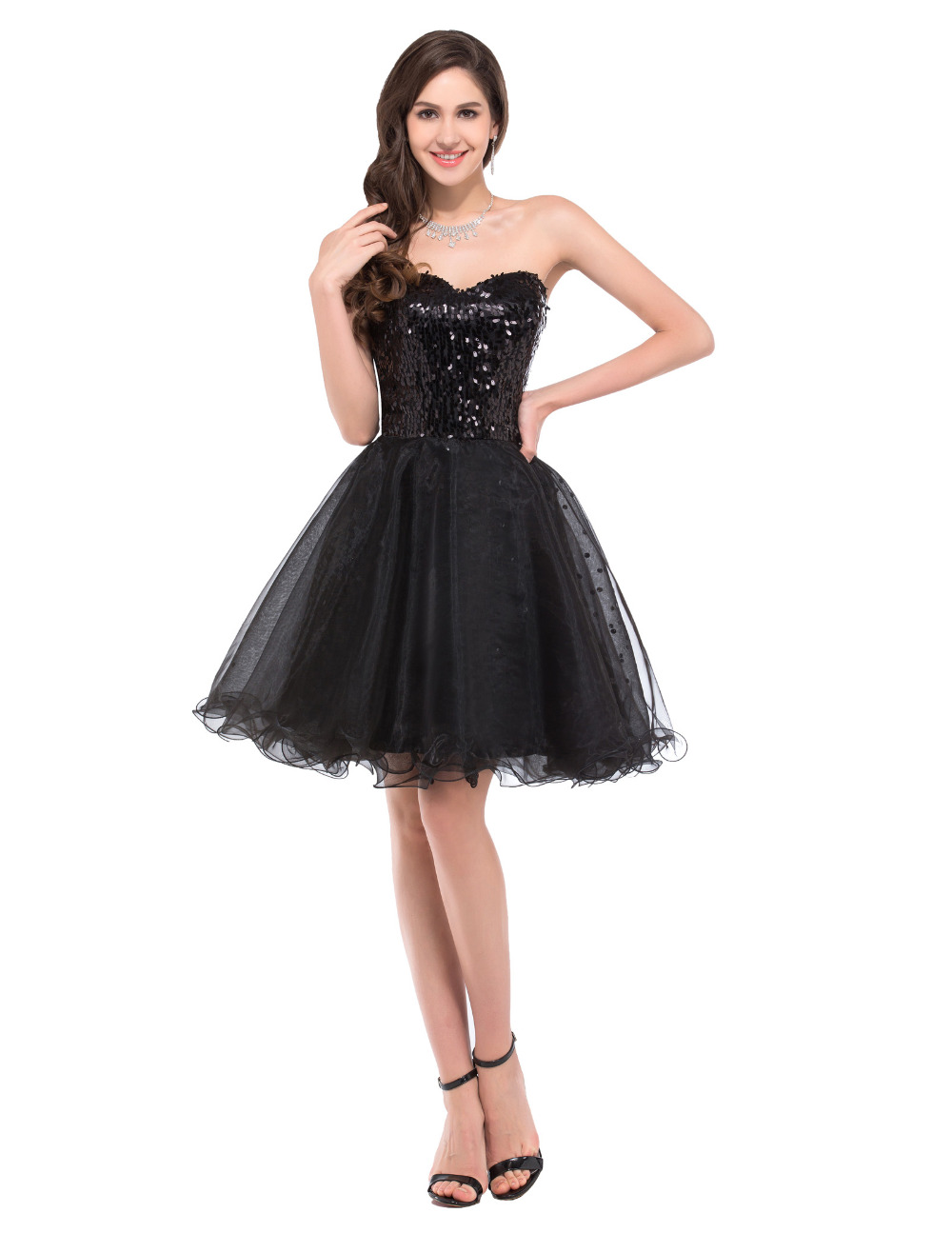 Black Gold Winter Formal Dresses Short - Dress images