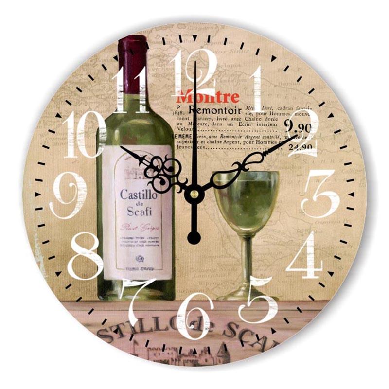 Achetez en gros vin horloge murale en ligne des for Decoration murale vin
