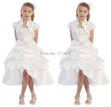 2015 Vestido Daminha Casamento High Low Organza Flower Girl Dresses for Weddings Plus Size Frock Designs Girls Communion Dresses(China (Mainland))