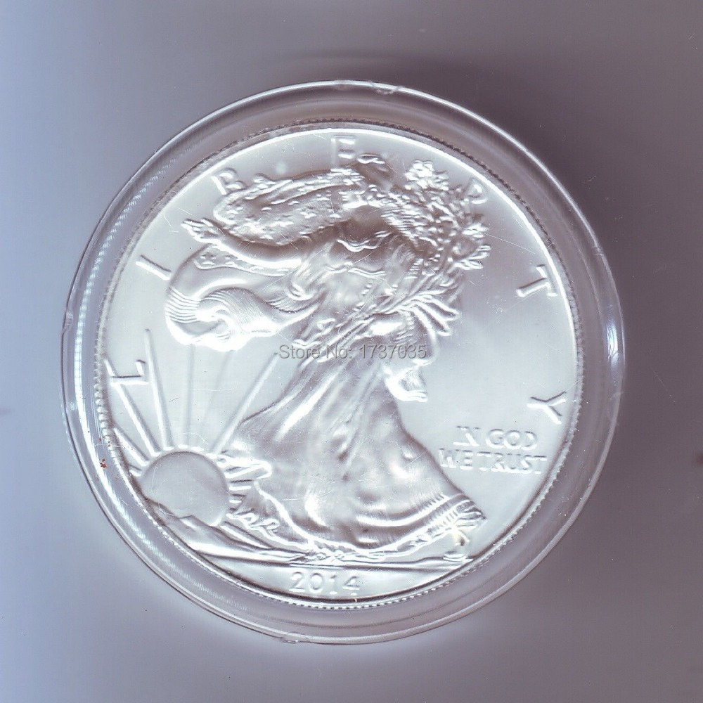 40 pcs/lot Free shipping1 Troy Oz .999 Fine Silver American Eagle Coins/2014 The light of freedom eagle souvenir coin(China (Mainland))