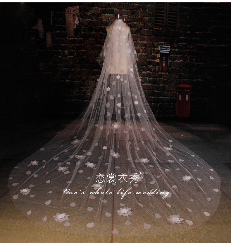 Elegant one-layer appliques lace Wedding Veil 1Tiers Soft Tulle White/Ivory short Bridal 2g - ebelz forever store