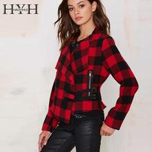 HYH HAOYIHUI Fashion Winter Red Plaid Jackets For Women Long Sleeves Street Outerwear 2016 Y5130674
