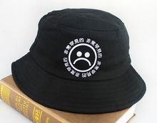 2015 Summer Black Unisex Cotton Chinese Letter Sad Face Printed Bucket Hat Boonie Hunting Fishing Outdoor Cap Hip hop Sun Hats(China (Mainland))
