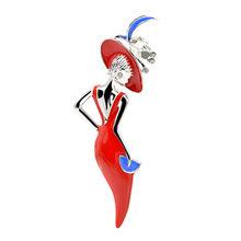 Cindy Xiang Merah Anggur Warna Lady Bros Enamel Memakai Topi Besar Gadis Fashion Perhiasan Lucu Bros untuk wanita Baru 2018(China)