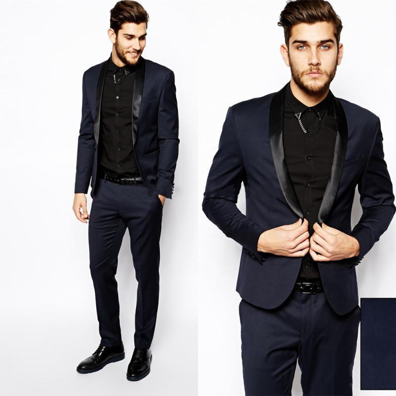 2015 Men Formal Dress Suits Fashion Black Navy Business Suit Men Wedding Suits Mens Tuxedos ...