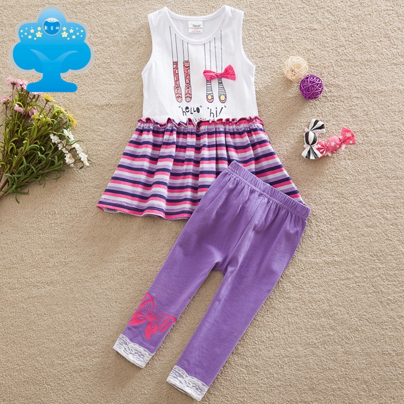 NEAT 2017 new girl dress with trousers suit discount with clothes set girl cartoon pattern decoration purple trousers SD6618#(China (Mainland))