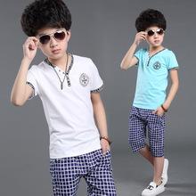 casual 100% cotton 2016 boys summer clothes  sports suit kids short sets short plaid children clothing vetement enfant
