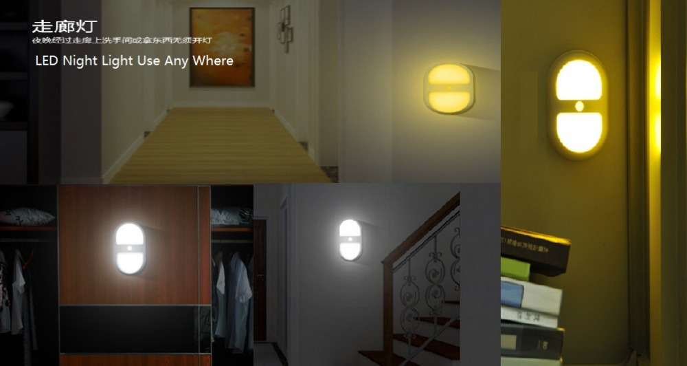 GoesWell LED Night Light Motion Sensor AA Battery Powered Stick Anywhere Bedroom Decoration Wall Path Laundry Stair Lamp(China (Mainland))