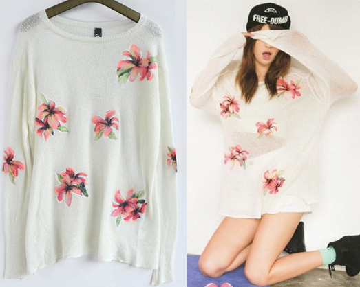 Spring Autumn Lady long sleeve o-neck knitted pullover sweater Women Floral embroidery sweet loose pullovers - Jazz Still Clothing Ltd, store