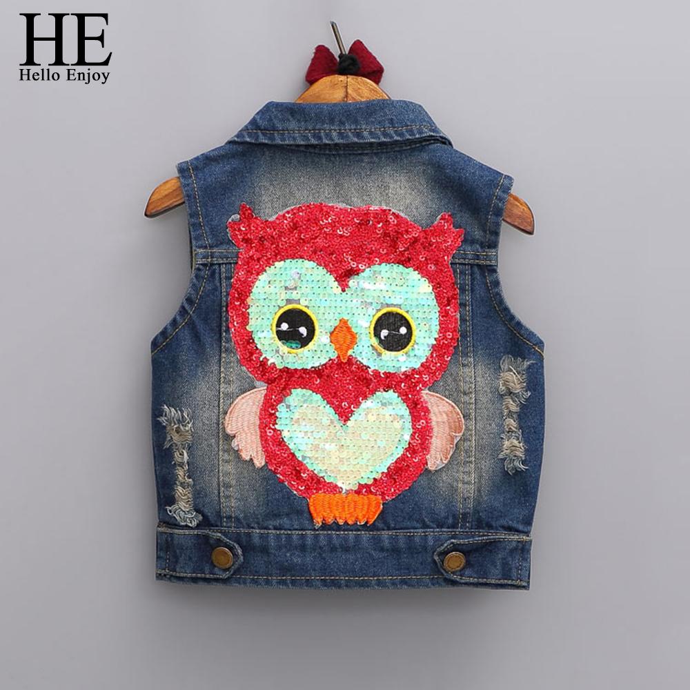HE Hello Enjoy girls outerwear 2017 Autumn girls clothes children Cartoon Owl Appliques Coat Cowboy Waistcoats Length Jacket
