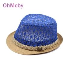 2016 Fashion Mesh Hollow out  Hats for Children Summer Hat Girls Jazz Cap Summer Straw Cap Dicers Fedoras Kids Fedora Hat  (China (Mainland))