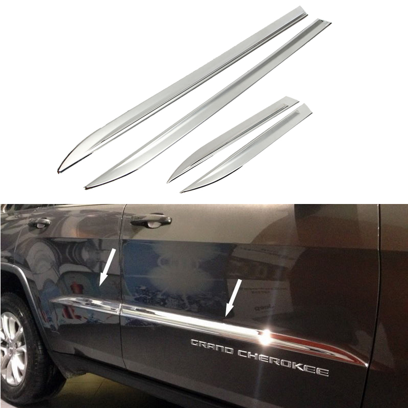 A set of 4pcs New Chrome Side Door Body  Molding Cover Trim For Jeep Grand Cherokee 2012-2014<br><br>Aliexpress
