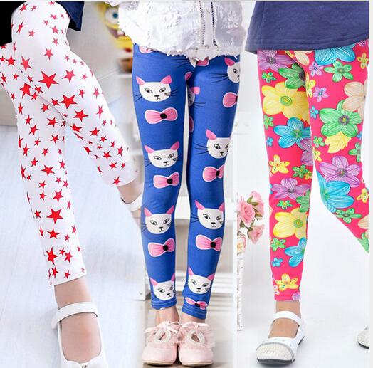 Девушка моды брюки печати Цветок детские брюки для весна осень летние дети леггинсы леггинсы девушки