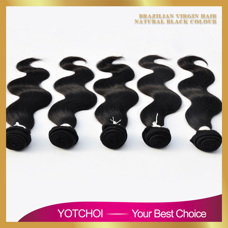 Yotchoi 7A Unprocessed Brazilian Virgin Hair 5 Bundles Human Virgin Hair Weave Extension Brazilian Hair Body Wave Weft Top Grade