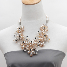 Party Design White Freshwater Pearl and Champagne Color Crystal Flower Crocheted Necklace(China (Mainland))