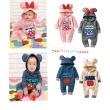 2014 New baby boy girl romper infants cartoon Mickey Minnie jumpsuit bebe autumn winter fleece lining hooded full sleeve romper