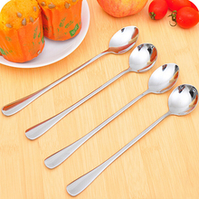 Long Handle Stainless Steel Tea Coffee Spoon Cocktail Ice Cream Soup Spoons Cutlery  6X5S(China (Mainland))