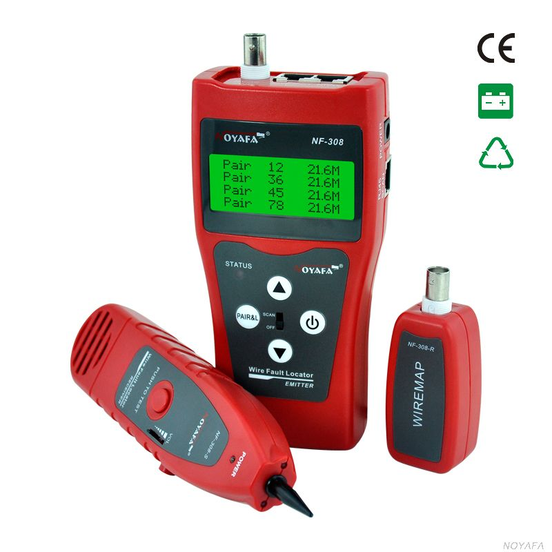 Network monitoring cable tester LCD NF-308 Wire Fault Locator LAN Network Coacial BNC USB RJ45 RJ11 red color(China (Mainland))
