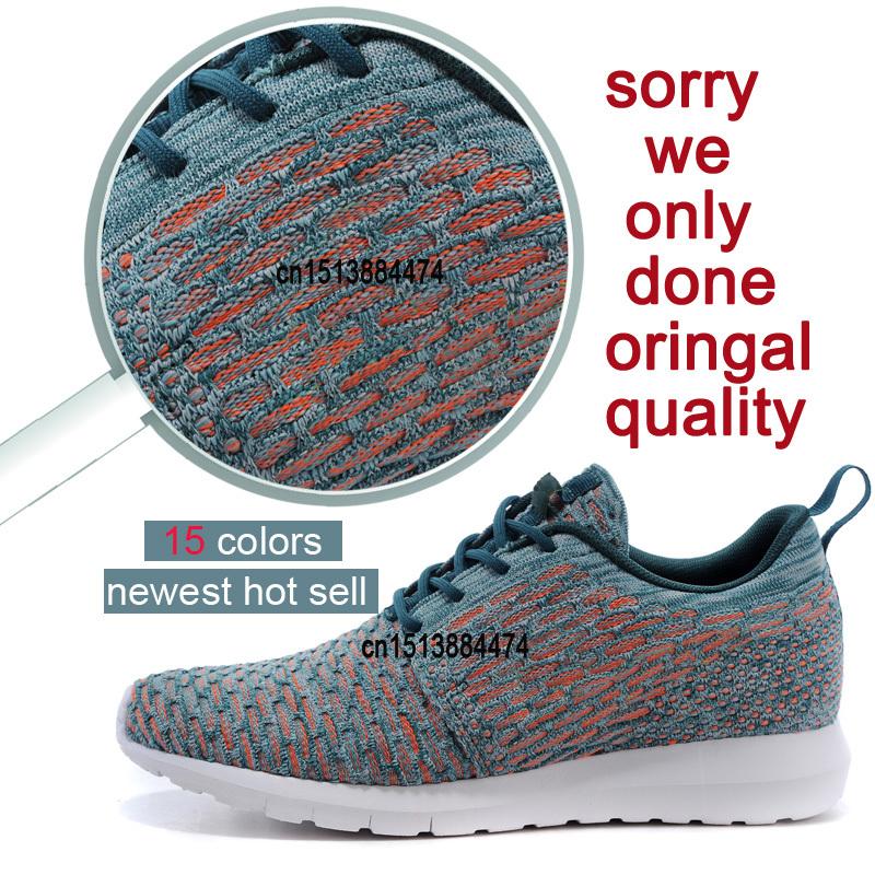Hot 2015 novo de couro roshelis Run Running Shoes excelente mulheres homens sports flyknit tênis leve olímpicos de londres sapatos(China (Mainland))