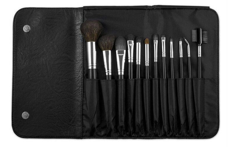 2015 Professional Makeup kits 12 PCs Brush Cosmetic Facial Make Up Set tools With leather Bag makeup brush tools hot sales(China (Mainland))