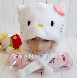 J4 Hello kitty warm plush hat,Cartoon Animal Hat, Free shipping
