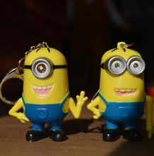 New 2015 Minions Toys Mini Minion Keychains Anime Movie Despicable Me 2 PVC Action Figure Toys Retail And Wholesale(China (Mainland))