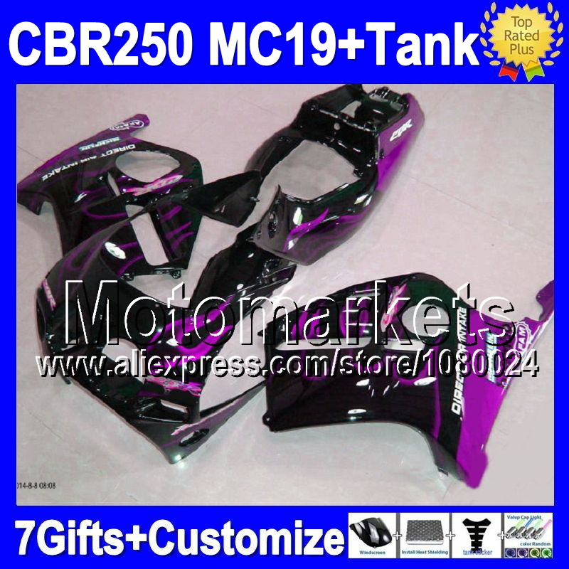 7gifts+Tank HONDA CBR250RR MC19 Purple flames CBR 250RR 1986 1987 1988 1989 M9105 CBR250 RR 86 87 88 89 Fairings  -  Motomarkets store