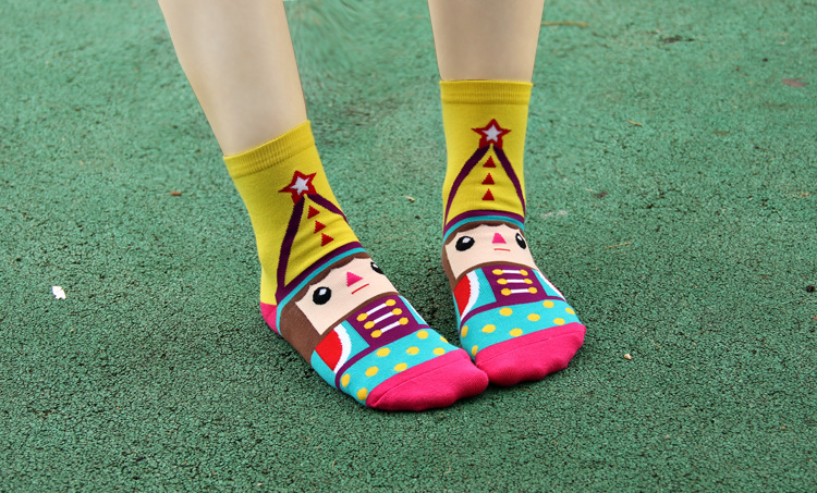 5 color 2014 New Women Nutcracker Cotton Carton Athletic Winter Autumn Warm Fashion Knee knit Cute Socks/Meias/Calcetines(China (Mainland))
