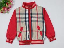 Wholesale  Brand  2014  New  fashion  spring/autumn  children's  coat   long  sleeve  plaid  pattern  boy's  coat  free shipping(China (Mainland))