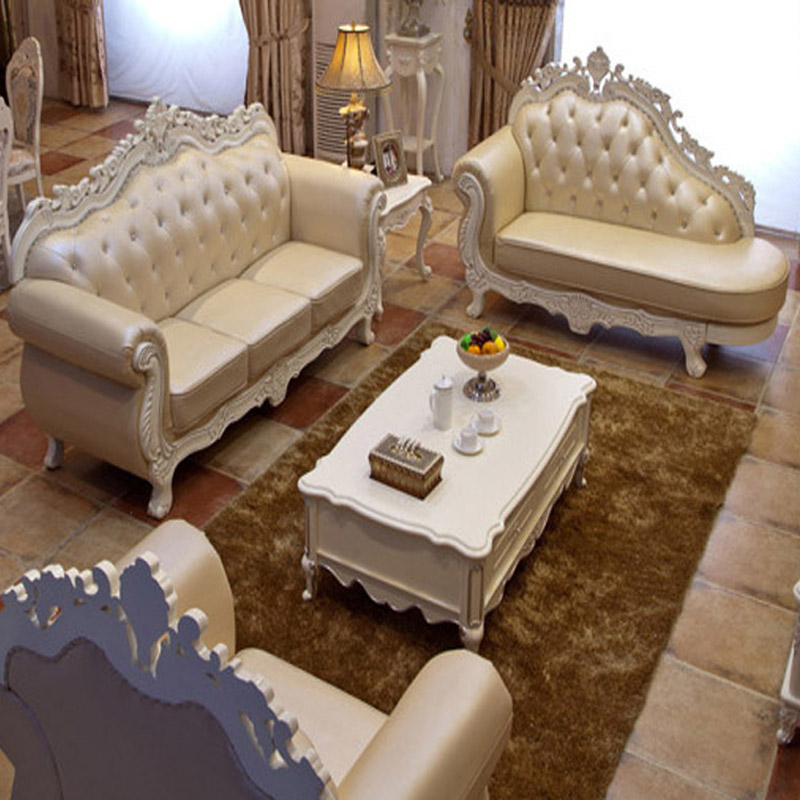 European-style Sofa Living room Sofa Luxury Villas in all wood imported the first layer of thick leather Sofa(China (Mainland))