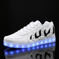 DoGeek Black White Led Shoes Light up Women Men Casual Shoes for Adult Chaussure Femme PU