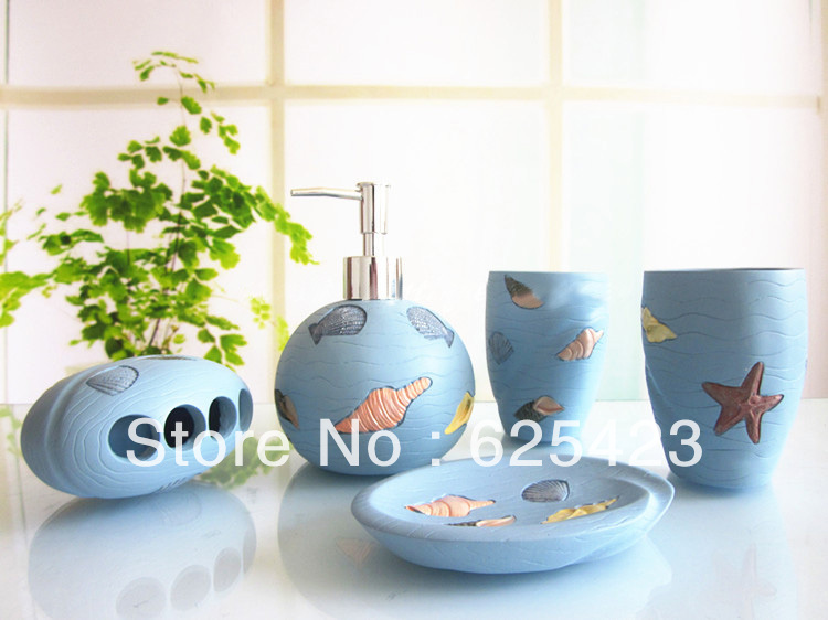 Hot sale free shipping ceramic bathroom accessory set cute for Bathroom accessories sets on sale