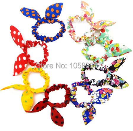 1Pcs/Lot Hot Sale Hair band Polka dot Flower hair rope Accessories for girls Rabbit Ears headband scrunchy Drop Shipping(China (Mainland))