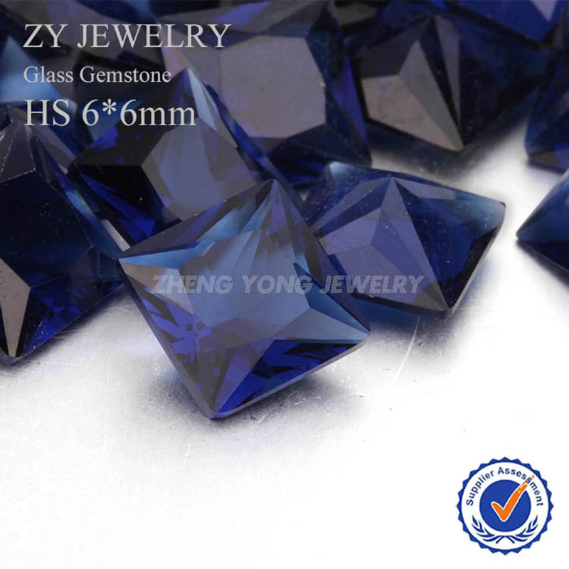 6x6mm Square Princess Cut Loose Blue Synthetic Glass Gemstone Beads For Wholesale(China (Mainland))