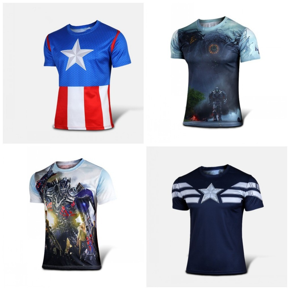 Wholesale brand new captain America 2016 series riding T-shirt manufacturers selling fashion captain America full T-shirt(China (Mainland))