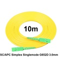 Free Shipping SM SX PVC 3mm 10 Meters SC APC Fiber Optic Jumper Cable SC APC