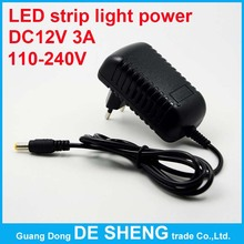 High quality 110~240V EU/US DC 12V 3A power adapter, smd 5050 3528 5630 led strip light Switching Power supply(China (Mainland))