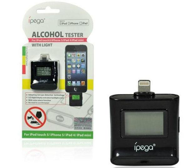 Wholesale 100pcs/lot iPega LCD Alcohol Breath Tester for iPhone 5 / iPod / iPad4 / iPad mini alcotest analyzer gadget DHL ship(China (Mainland))