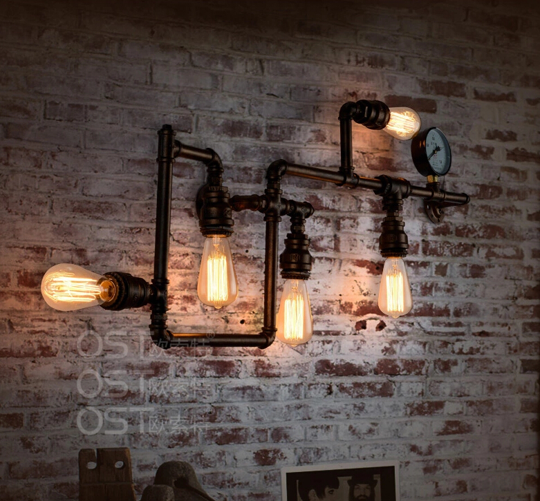 Wall Sconces Home Interiors : American-Vintage-Industrial-Water-Pipe-Wall-Lamp-Inon-Lampshade-Sconce-Bar-Coffee-Light-Fixtures ...