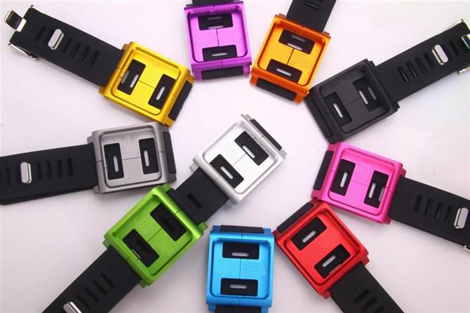 Colorful Fashion Wristband Silicone + Aluminum Wrist Watch Band Strap Bracelet Case Cover For iPod Nano 6 6th(China (Mainland))