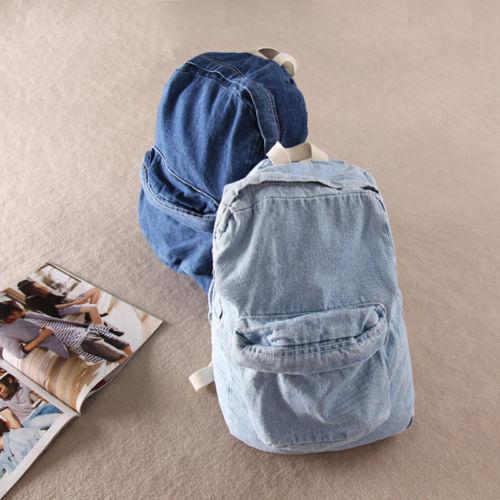 Unisex Vintage Washed Denim denim backpack american apparel double shoulder denim backpack aa ...