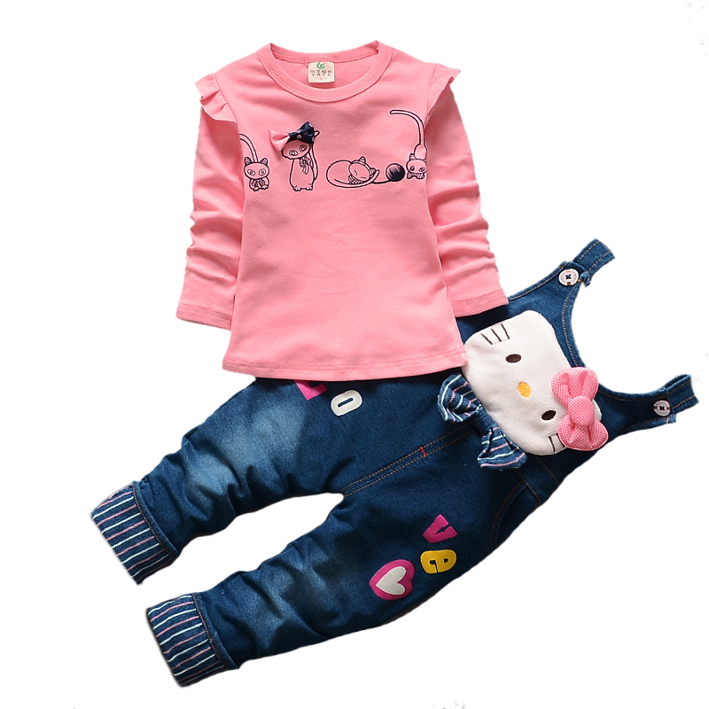 Autumn Toldder Girl Clothing Set Cute Cat T-Shirt &amp; Kitty Denim Overalls Princess Infant Kids Childrens Clothes Sets For Baby<br><br>Aliexpress