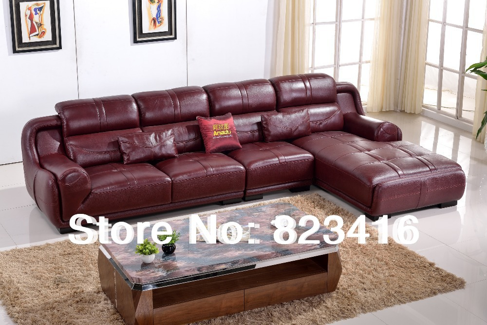 Recliner corner sofa functional sofa home furniture modern for Burgundy leather chaise