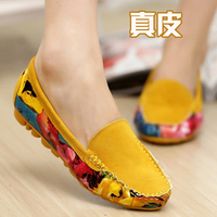 2013 summer color block decoration women's genuine leather shoes flat gommini loafers casual shoes flat heel single shoes